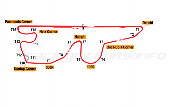 Map of Fuji Speedway, Grand Prix Circuit with shortcut 2005 to date