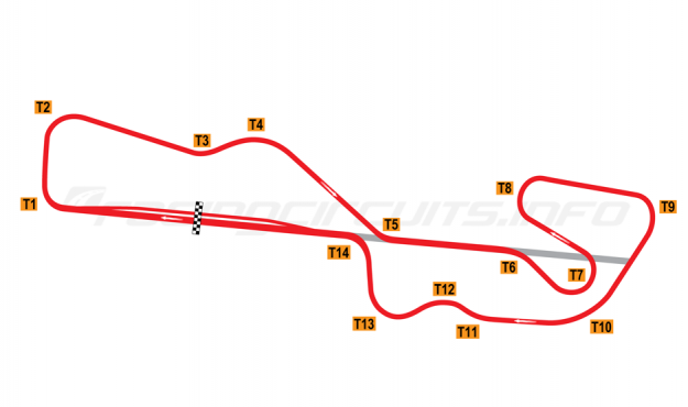 Map of Gateway Motorsports Park, Road course 1985-1995