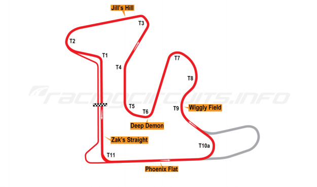 Map of GingerMan Raceway, Original Course (Anti-Clockwise) 2010 to date