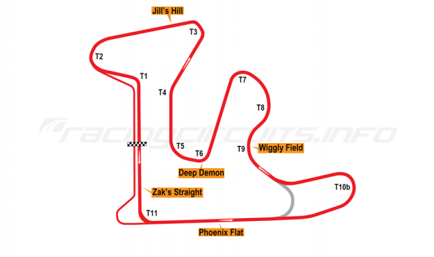 Map of GingerMan Raceway, Extended Course (Anti-Clockwise) 2010 to date