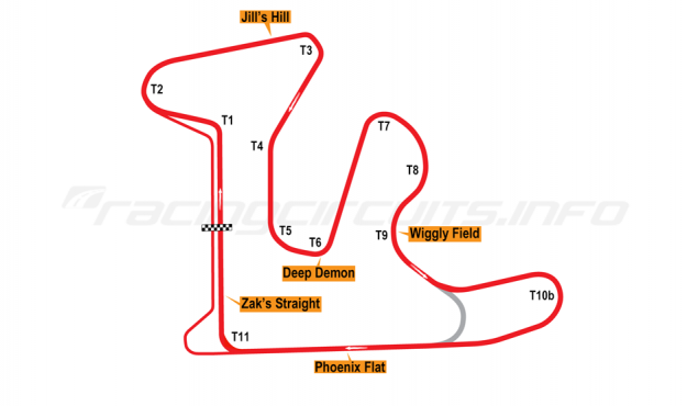 Map of GingerMan Raceway, 2010 to date