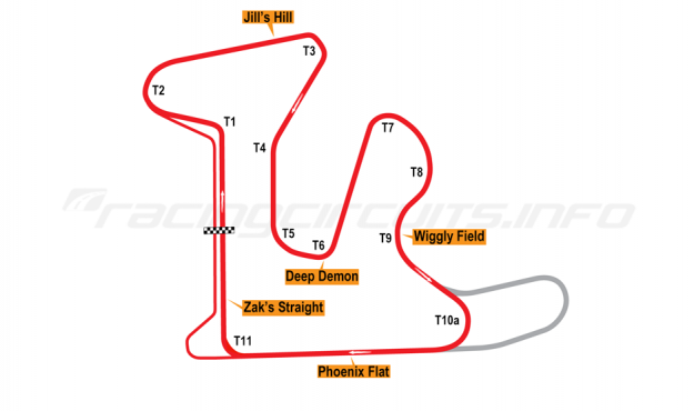 Map of GingerMan Raceway, Original Course 2010 to date