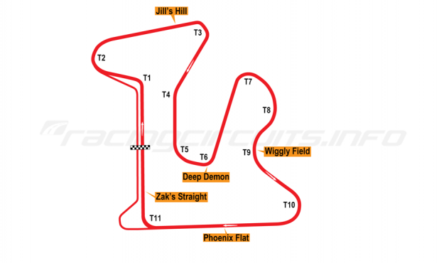 Map of GingerMan Raceway, Original Course 1995-2009