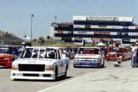 NASCAR Trucks in the pit lane at Heartland Park Topeka