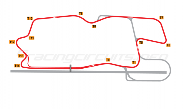 Map of Heartland Park Topeka, Modified NASCAR Circuit B 2008 to date