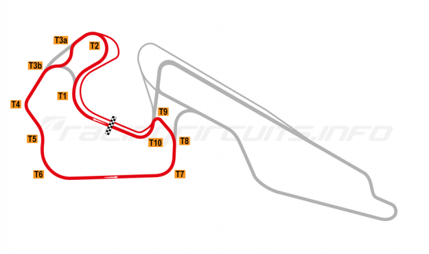 Map of Igora Drive, Short Circuit 2 with chicane 2019 onwards