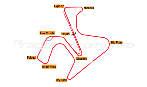 Map of Jerez, Motorcycle Grand Prix Circuit 2004 to date