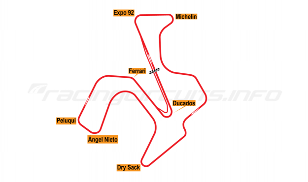 Map of Jerez, Grand Prix Circuit 1985-91