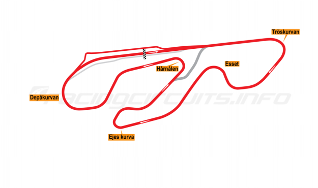 Map of Karlskoga, Grand Prix Circuit 2000-05