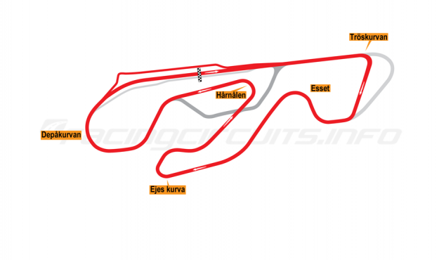 Map of Karlskoga, Grand Prix Circuit 2014 to date