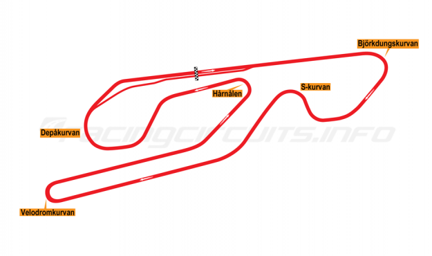 Map of Karlskoga, Grand Prix Circuit 1973-94