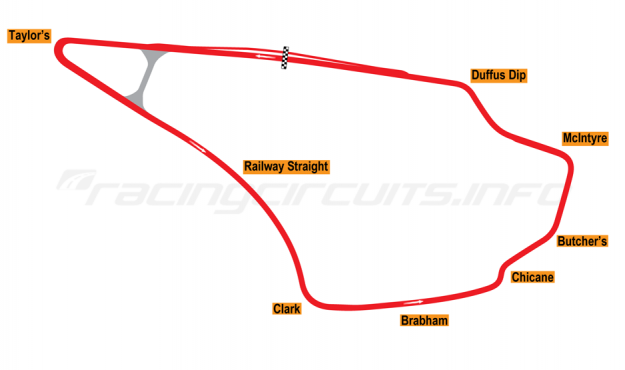 Map of Knockhill, International Circuit (Anti-clockwise) 1974 to date
