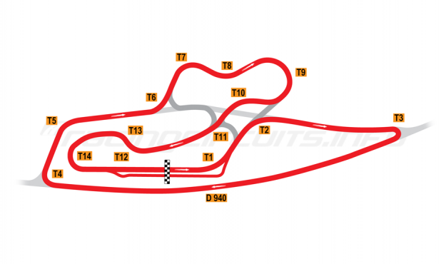 Map of La Châtre, Grand Prix Circuit 1978-95