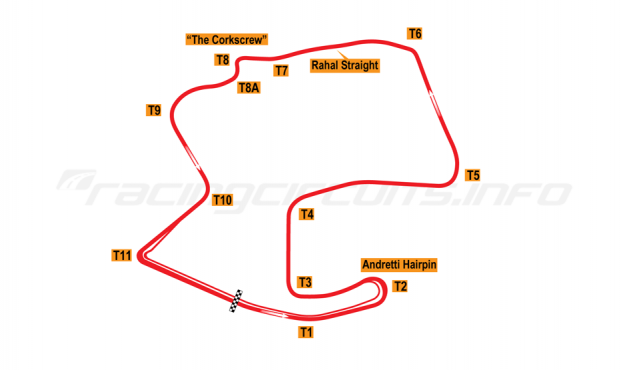 Map of Laguna Seca, Road Course 1996 to date
