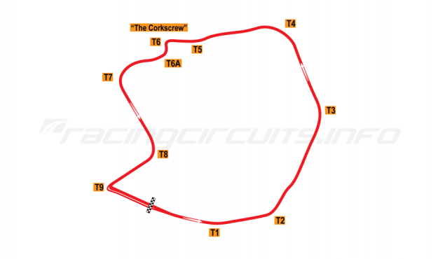 Map of Laguna Seca, Road Course 1964-67