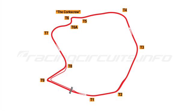 Map of Laguna Seca, Road Course 1986-87
