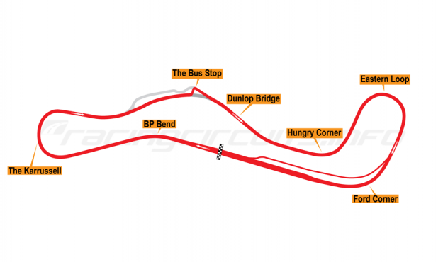 Map of Lakeside, Motorcycle circuit 2014 to date
