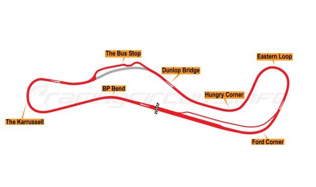 Map of Lakeside, Motorcycle circuit 2008-14