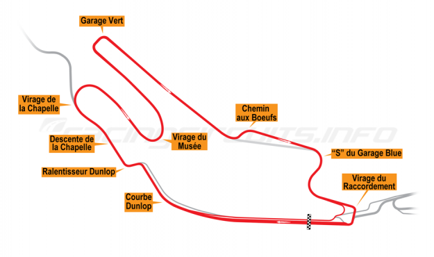 Map of Le Mans, Bugatti Circuit 2015 to date