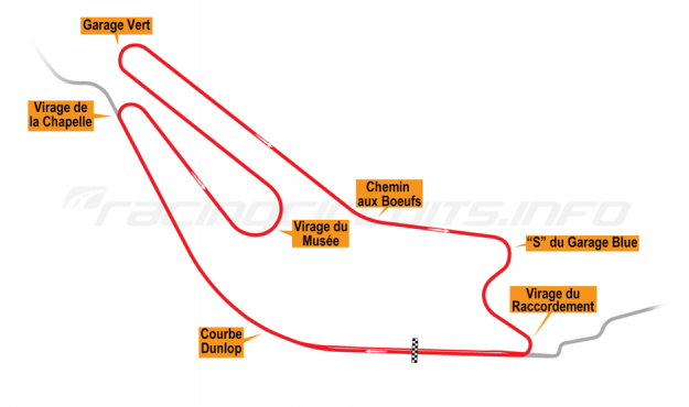 Map of Le Mans, Bugatti Circuit 1972-75