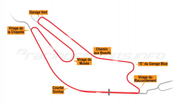 Map of Le Mans, Bugatti Circuit 1979-85