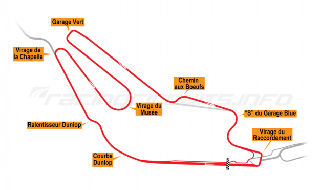 Map of Le Mans, Bugatti Circuit 1991-96