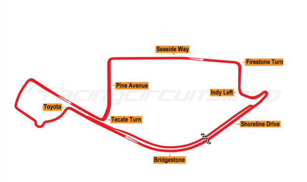 Map of Long Beach, Grand Prix Course 2000-14