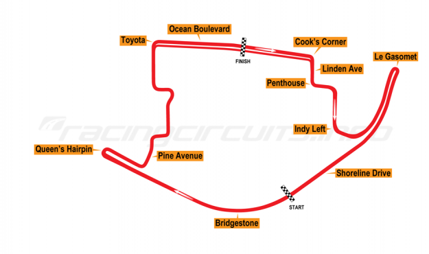 Map of Long Beach, Grand Prix Course 1975-81