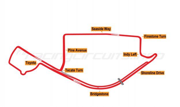 Map of Long Beach, Grand Prix Course 2015