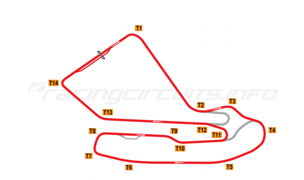 Map of Magny-Cours, Grand Prix Circuit 1971-1988