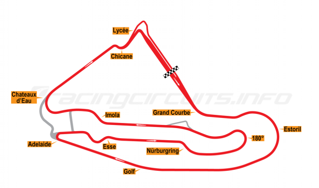 Map of Magny-Cours, Grand Prix Circuit 1989-1991