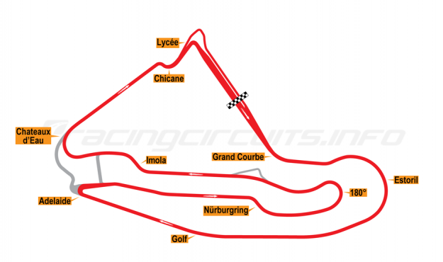Map of Magny-Cours, Grand Prix Circuit 1992-2000