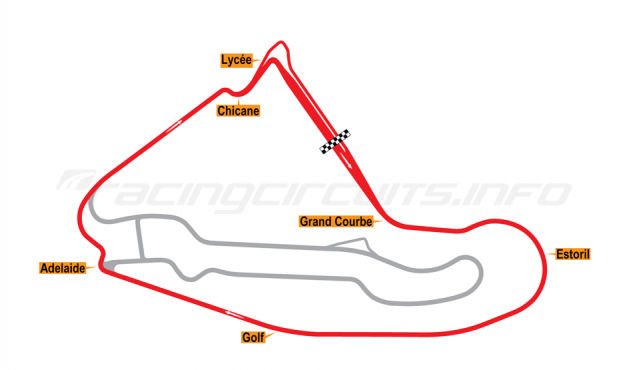 Map of Magny-Cours, National Circuit 1989-1991