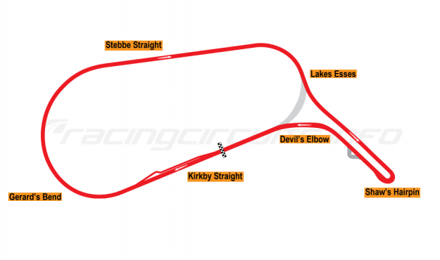 Map of Mallory Park, Car Circuit 1986-2002