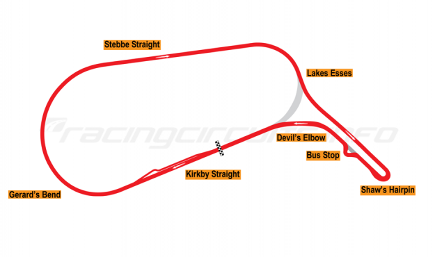 Map of Mallory Park, Motorcycle Circuit 1986-2002