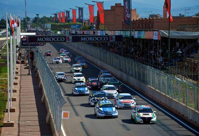 Gabriele Tarquini takes the lead at the start of a WTCC race in 2013 at Marrakesh.