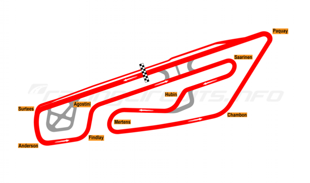 Map of Mettet, Circuit Jules Tacheny (cars) 2012 to date