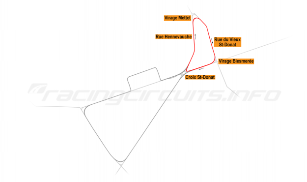 Map of Mettet, North road course 1977-84