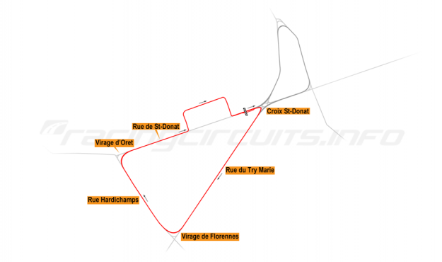Map of Mettet, South road course 1977-84