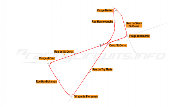 Map of Mettet, Closed road course 1972-76