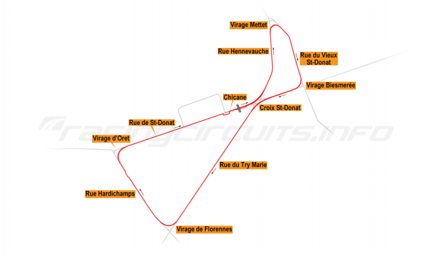 Map of Mettet, Closed road course 1990-91
