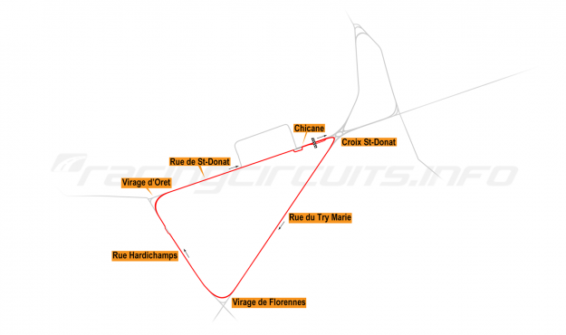 Map of Mettet, South road course 1992-2009