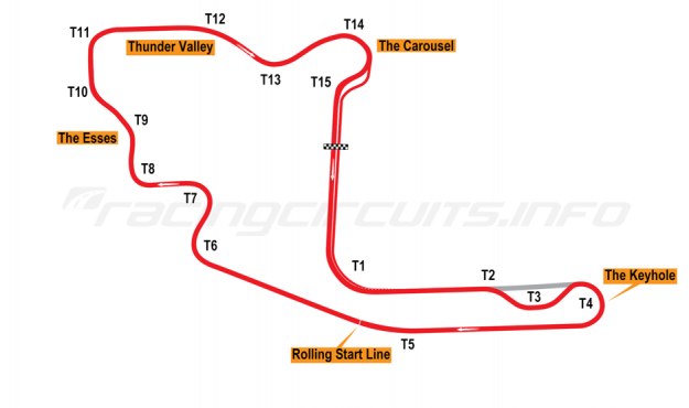 Map of Mid-Ohio, Main circuit (with chicane) 1990-2005
