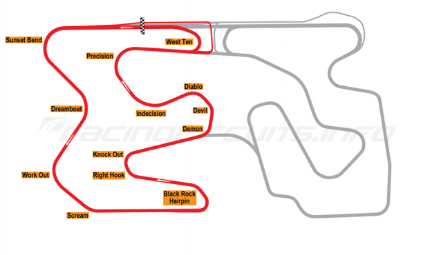Map of Utah Motorsports Campus, West Course 2006 to date