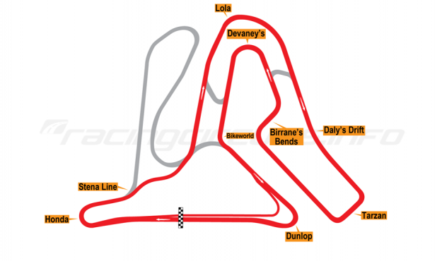 Map of Mondello Park, Intermediate Circuit 1998 to date