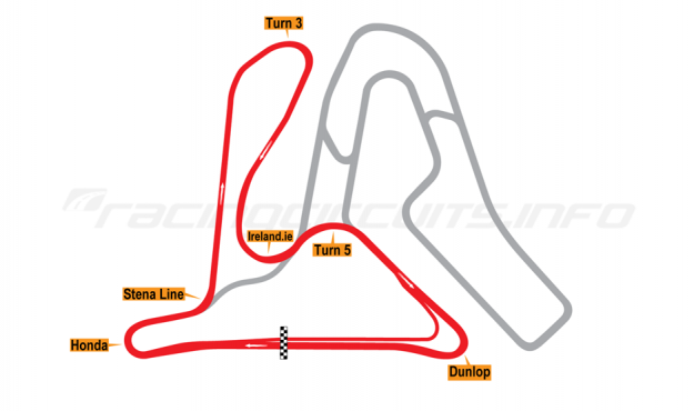 Map of Mondello Park, National Circuit 1998 to date