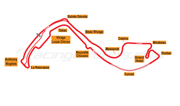 Map of Monte Carlo, Grand Prix Circuit 2004-14