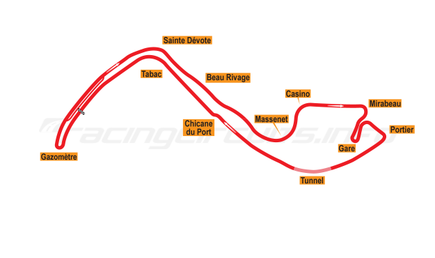 Map of Monte Carlo, Grand Prix Circuit 1955-71