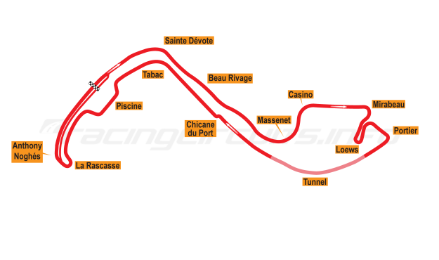 Map of Monte Carlo, Grand Prix Circuit 1973-75