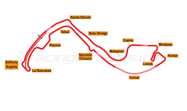 Map of Monte Carlo, Grand Prix Circuit 1986-96